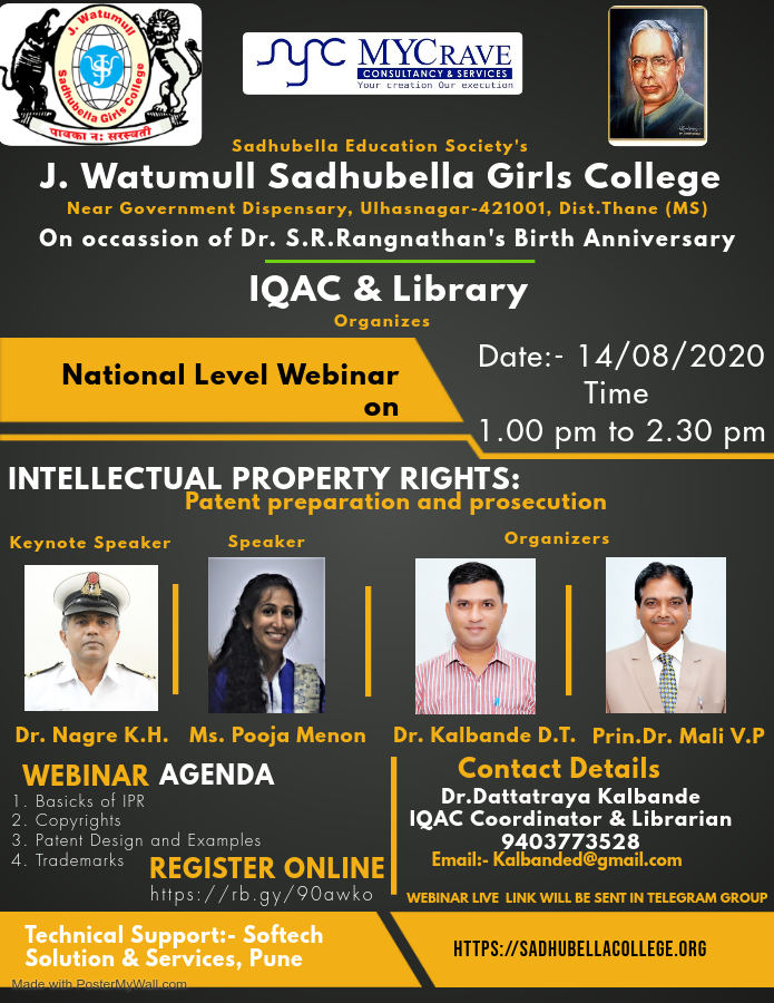 National Level Webinar on Intellectual Property Rights: Patent Preparation & Prosecution